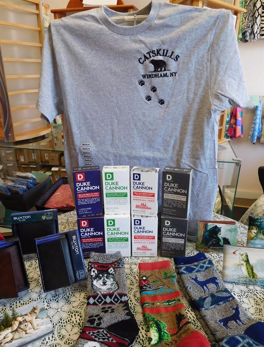 Windham NY Souvenir shirts, wildlife socks, variety of gifts for men